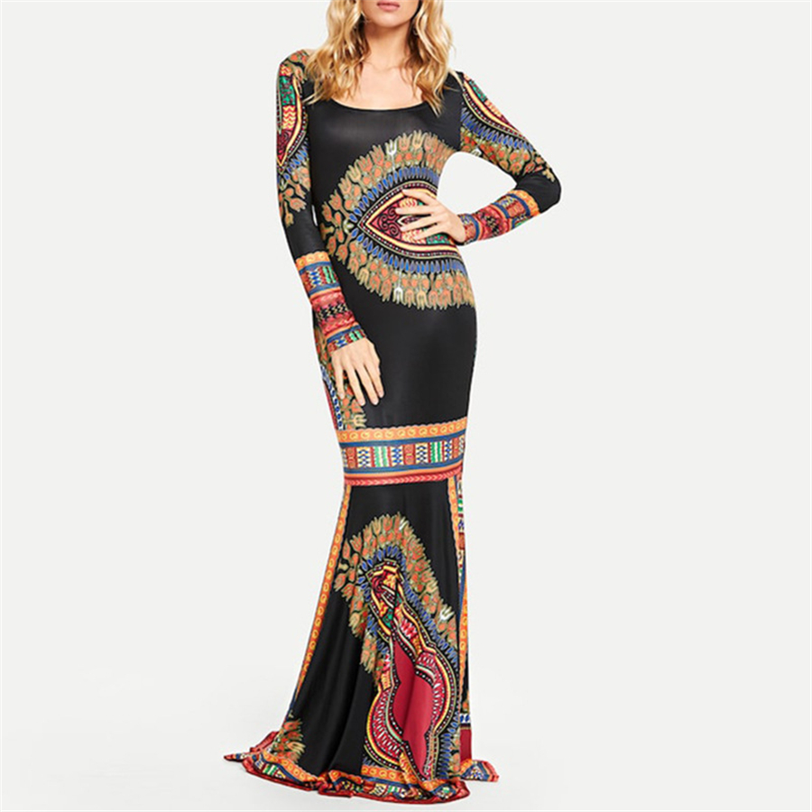 BAIBAZIN African Dresses for Women New Fashion Women's Long Bohemian Long Skirt Print Long Sleeve Vest Skirt (5)
