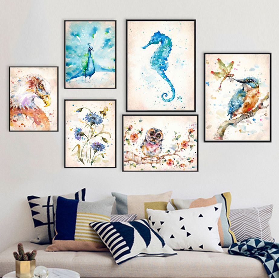 Watercolor Bird Dandelion Flower Owl Seahorse Nordic Posters And Prints Wall Art Canvas Painting Wall Pictures For Living Room in Painting Calligraphy from Home Garden