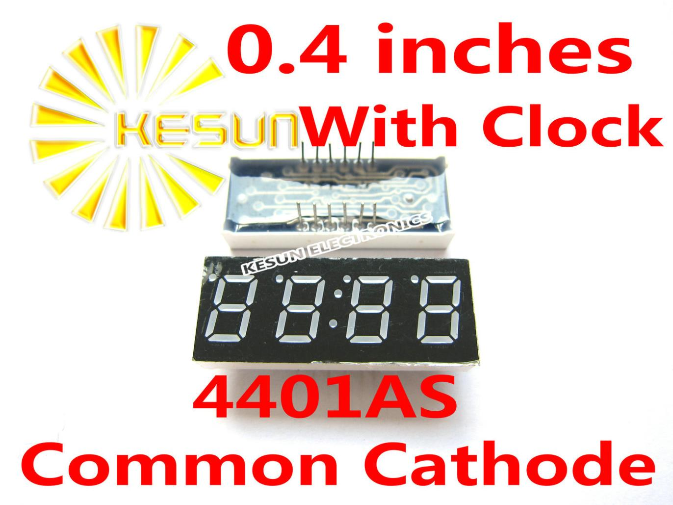 FREE SHIPPING 10PCS x 0 4 inches Red Common Cathode 4 Digital Tube With Clock 4401AS