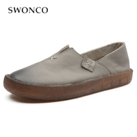 SWONCO Genuine Leather Shoes Women Autumn Flat Loafers 2019 New Slip On Soft Bottom Female Causal Shoes Leather Loafers Flatform