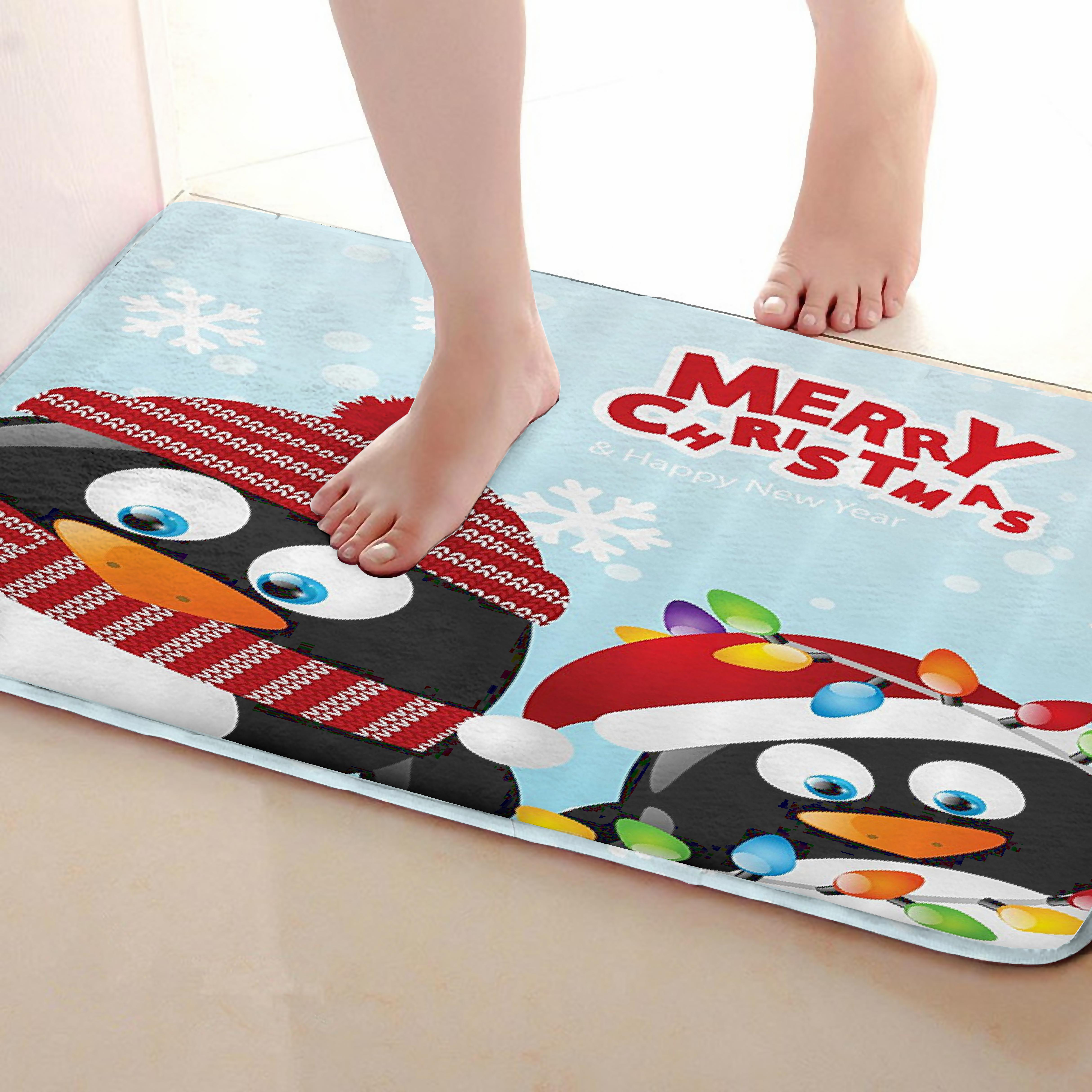 Penguin Style Bathroom Mat,Funny Anti Skid Bath Mat,Shower Curtains Accessories,Matching Your Shower Curtain