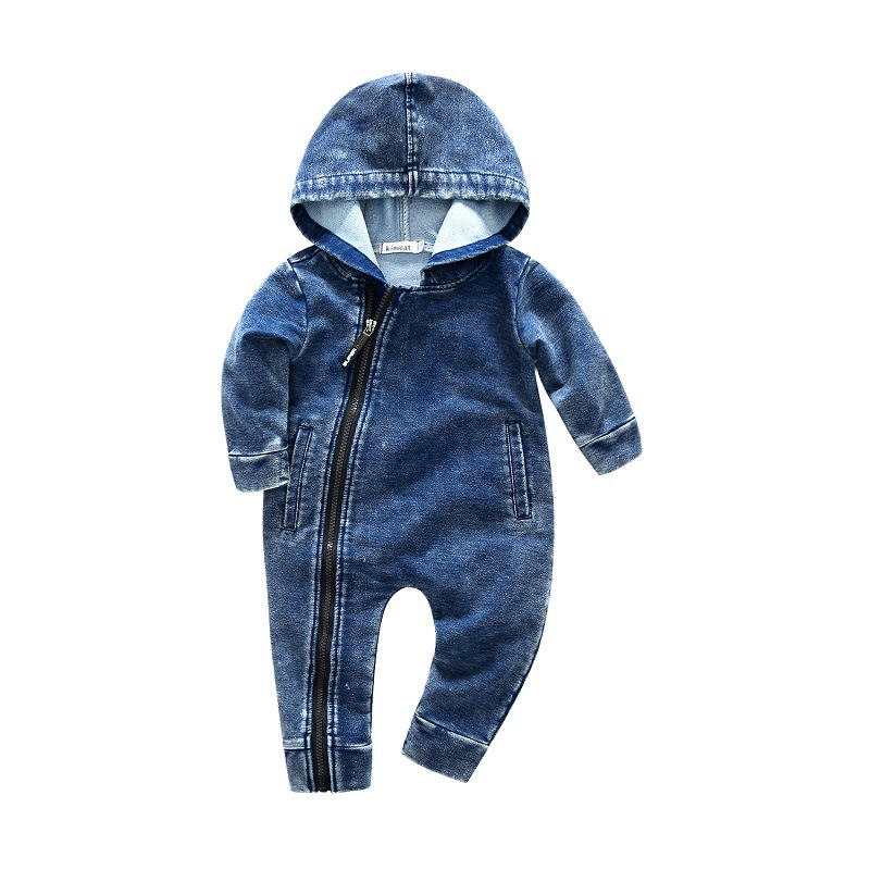 2018 Spring baby boys hooded rompers fashion gentlemn climbing clothes infant mitation cowboy coordinated zipper jumpers 18M06