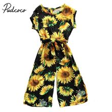 3fae6820724f Pudcoco 2018 Kids Baby Girls Floral Romper Boho Sunflower Sashes Jumpsuit  Sunsuit Summer Beauty Holiday Outfits Clothes 1-6T