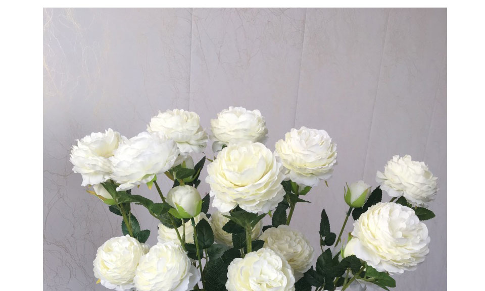 Artificial Flowers 3 Heads White Yellow Peonies Silk Flowers Peony Artificial Flower Wedding Decor for Home Peonies Color_16