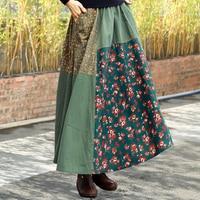 Spring And Summer New Boho Women Skirts Artistic Cotton And Linen Long Skirt Patchwork Ethnic Style High Waist Skirt Womens