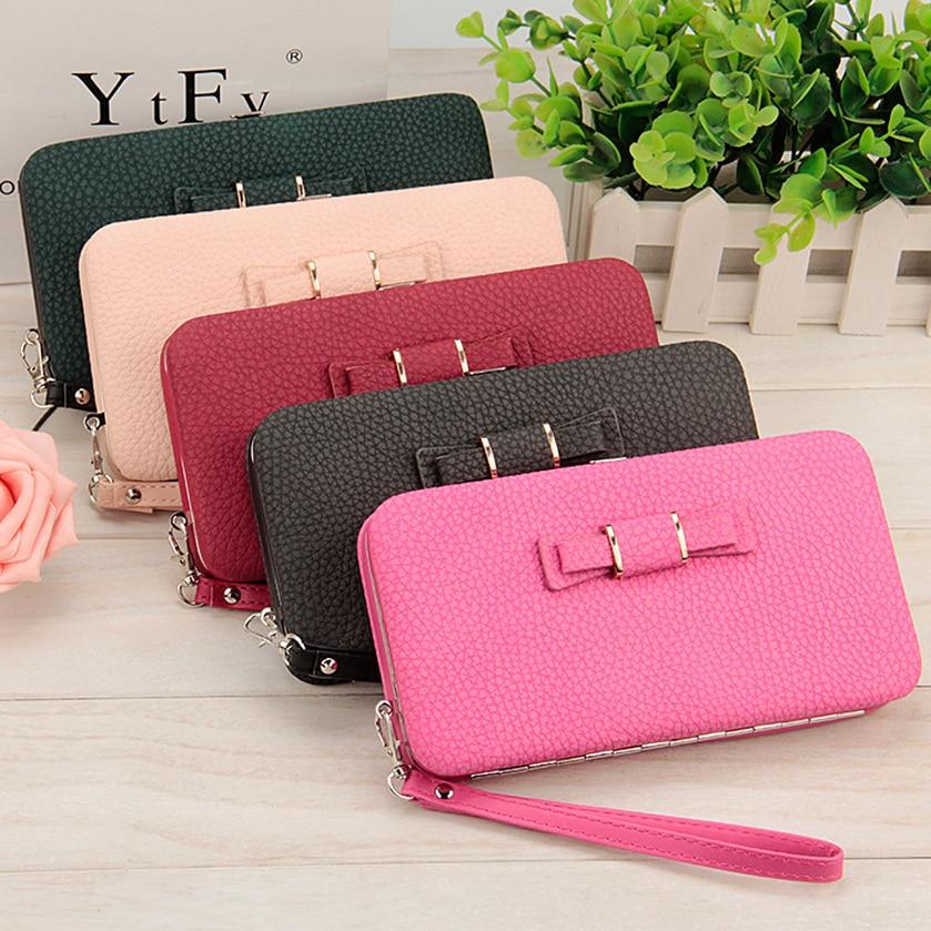 Wallet Women's purse brand money clip dollar price cartera designer wallets famous In longmobile phone packets bowknot Wallets электроинструмент