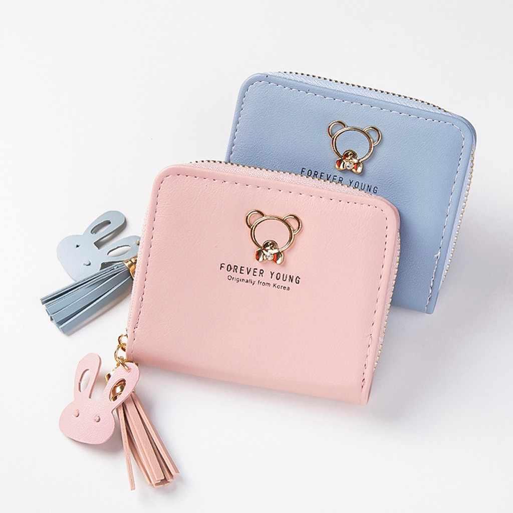 Для женщин женские Кошельки Простые буквы кисточкой бахрома медведь небольшой карман для монет дамы кошелек portfel damski бумажник Женский carteira feminina