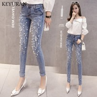 Plus size Women Hole Ripped pearled Slim Denim Pants Embroidered Flares Jeans pencil pants Boyfriend woman Ladies skinny jeans
