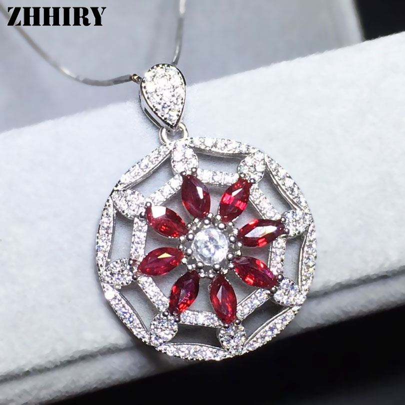 ZHHIRY Genuine Natural Ruby S925 Sterling Silver Necklace Pendant For Women Real Gemstone Fine Jewelry