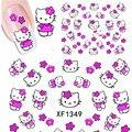 1 Hojas de Hello Kitty Pegatinas de Uñas 3D Uñas de Transferencia de Agua arte de la Etiqueta engomada de la Historieta Etiqueta Engomada Del Gato Diseño de Papel Adhesivo de Uñas papel de aluminio