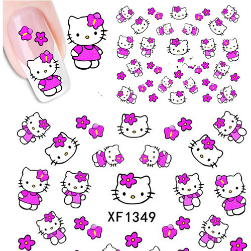 1 Sheets Hello Kitty Nail Stickers 3D Water Transfer Nail Art Sticker Decal Cartoon Cat Sticker Design Foil Adhesive Nail Foil xf1086 fashion new style water transfer stickers 1 sheets 3d design diy nail art decorations nail sticker nail decal nail tools