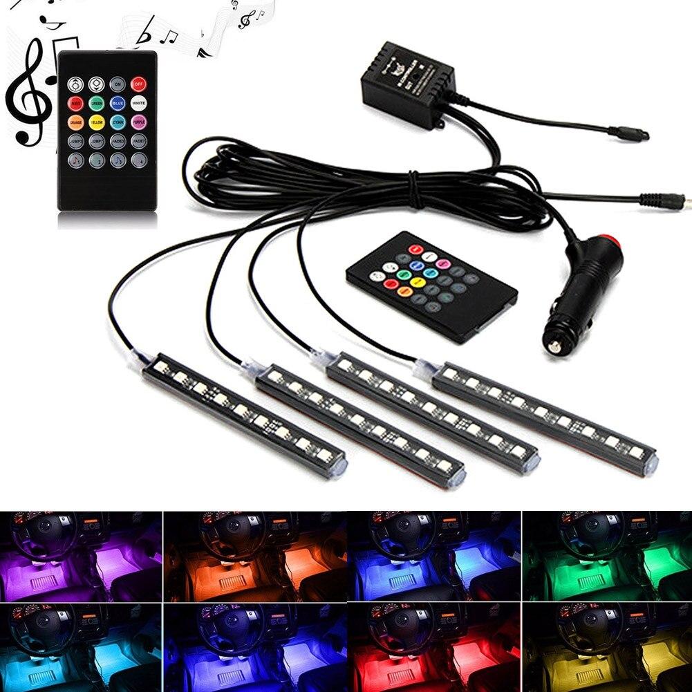 Car Interior Atmosphere Neon Light LED Multi Color RGB Voice Sensor Sound Music Control Decor Lamp CLH@8