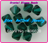 Free Shipping, 288pcs/Lot 6mm emerald color Chinese Top Quality Crystal Bicone Beads