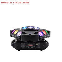 9 Moving Head RGBW Color 10w*9 Triangle Spider Moving Head Light Laser Dj