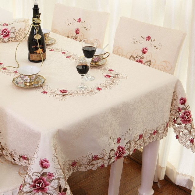 Elegant Embroidery Table Cloth,Modern European Rustic Table Cover,Luxury  Brand Embroidered Tablecloth,