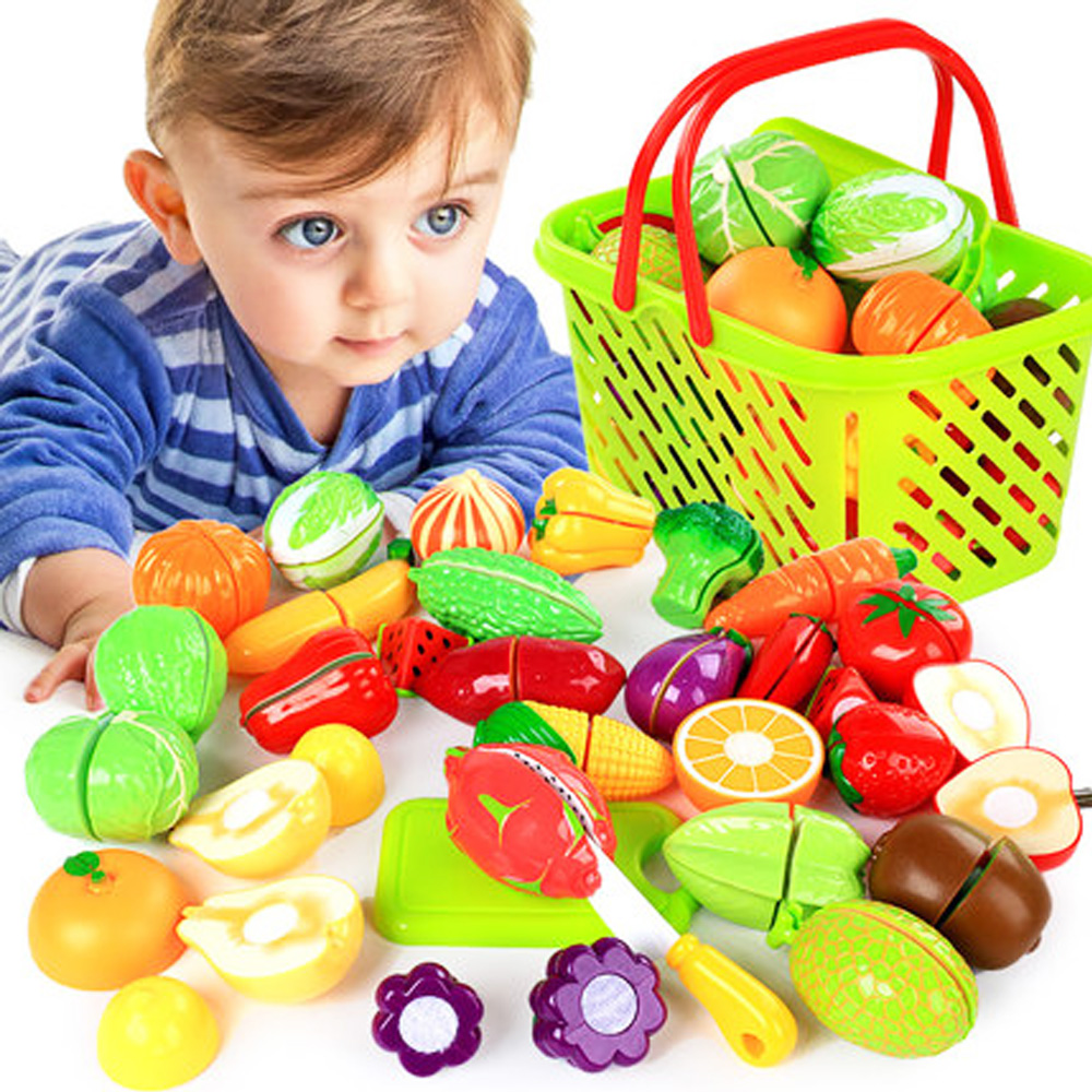 Baby Kitchen Toys Pretend Play Cutting Fruit Vegetable Plastic Drink Food House Toys Shopping Cart Basket Set For Children Gift
