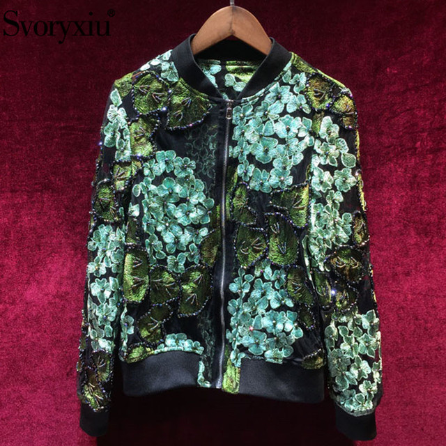 Svoryxiu Fashion Designer Autumn Mesh Coat Jackets Women's High Quality Beading Green Floral Embroidery Slim Tops Jackets
