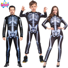 NoEnName Free Shipping Ghost Skeleton Costume Skull Skeleton parent-child suit clothing Cosplay Holiday Party Adult/Children