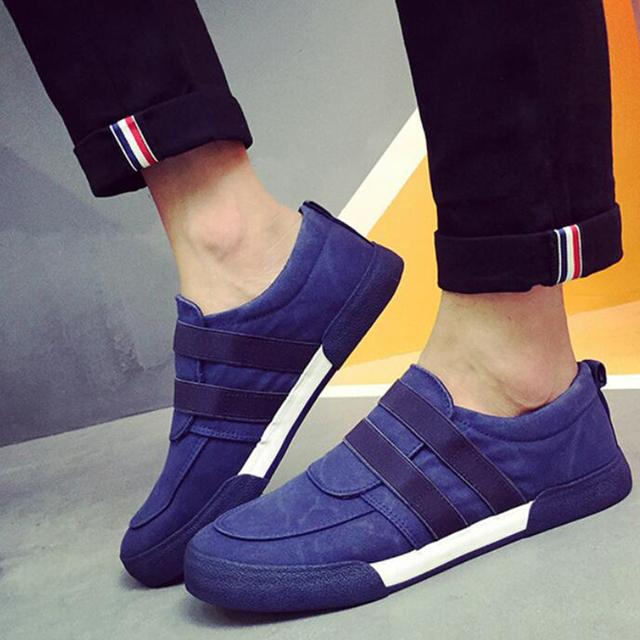 De Diseño de moda de Los Hombres Respirables de Lona Zapatos Casuales Punta Redonda Slip-on Chaussure Homme Zapatos Vulcanizado de Goma antideslizante hombres