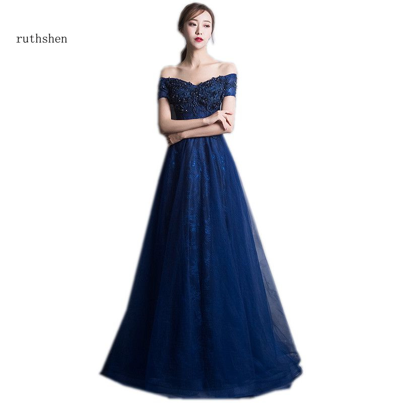 ruthshen Elegant A-line Navy Blue Vestidos De Formatura Off The Shoulder Special Occasion Party Gowns Short Sleeves Prom Dresses