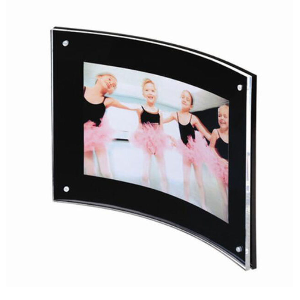Desk Freestanding 8.5x11 Black Plexiglass Curved Magnet Frame for Signage,Certificate,Di ...