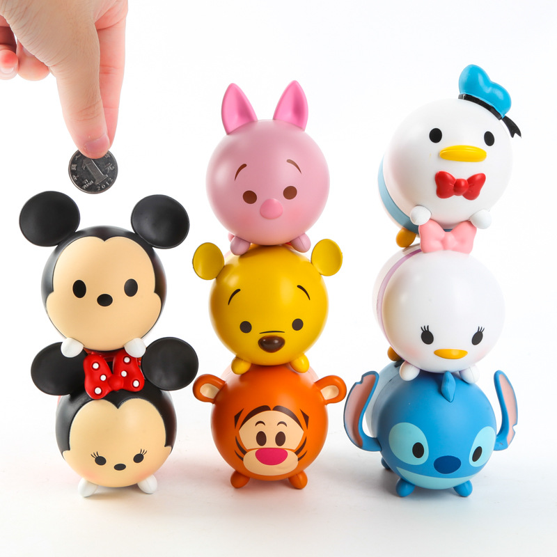 Tsum mini cartoon set toys Anime Minnie Mickey mouse Winnie Stitch piggy bank cute cartoon model doll for gifts 4pcs 10CM*7CM
