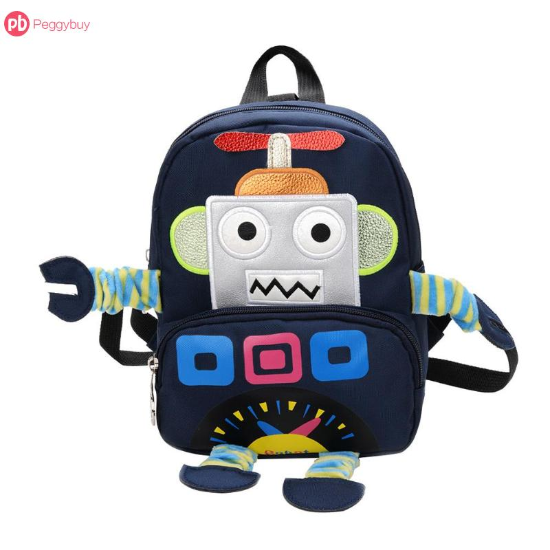 e7d5c796ccc7 4 Colors Cute Kids Boys Girls Preppy Cartoon Robot Embroidery Pattern  Backpack Casual School Bags Mochila Bagpack