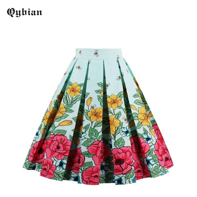 466b7da9ebf Qybian Sale 2017 Summer Bright flowers cute bee Print woman Layers skirt  falda mujer Pleated Skirts Knee-Length Midi Skirt Saia