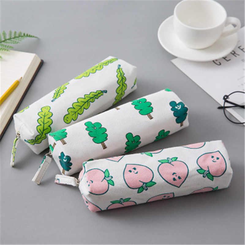 Креативный фруктовый брезентовый пенал для девочек и мальчиков большой хранения