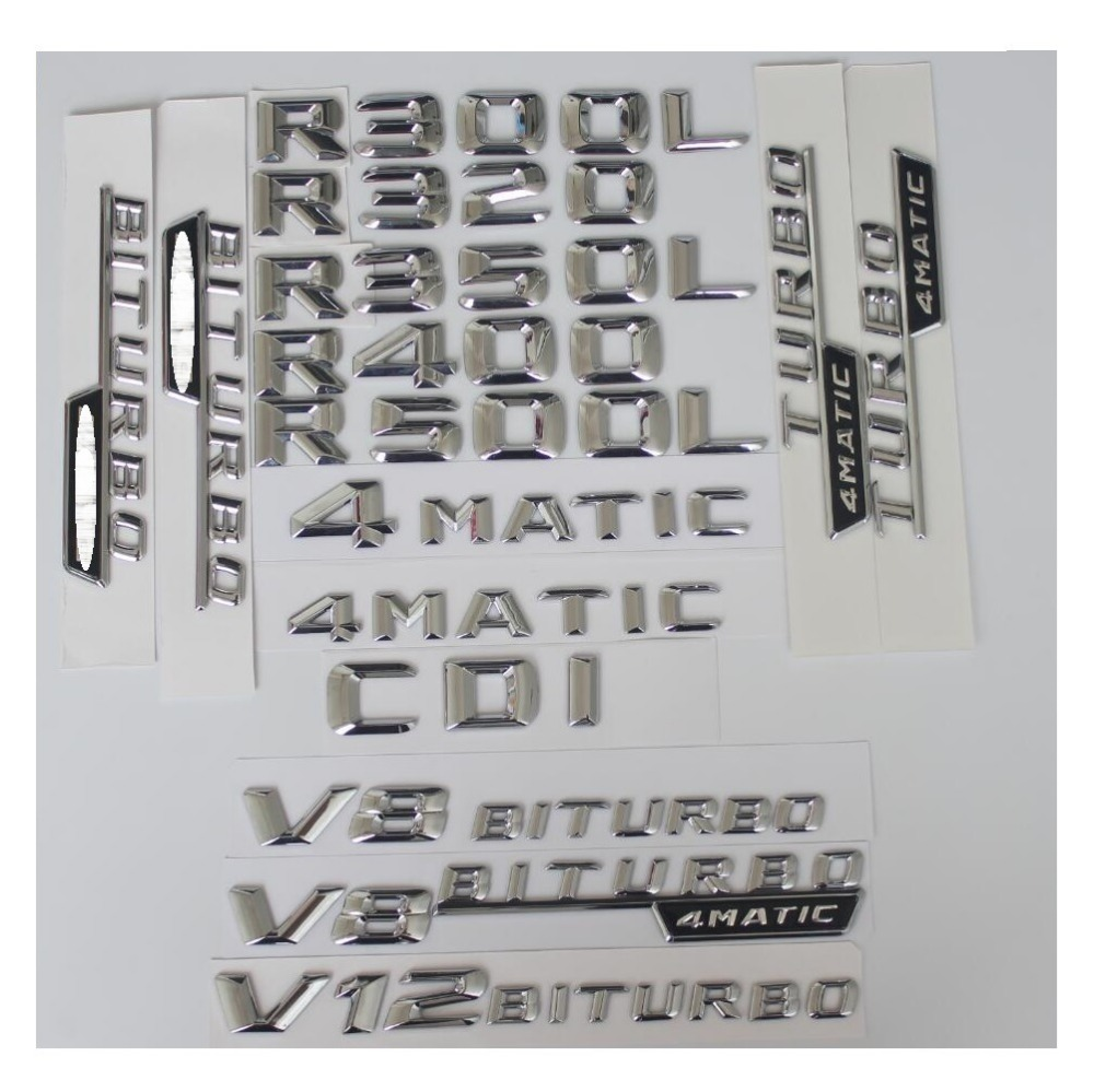 Chrome  R 350 4 MATIC Car Trunk Rear Letters Words Badge Emblem Letter Decal Sticker for Mercedes Benz Class R350 4MATIC