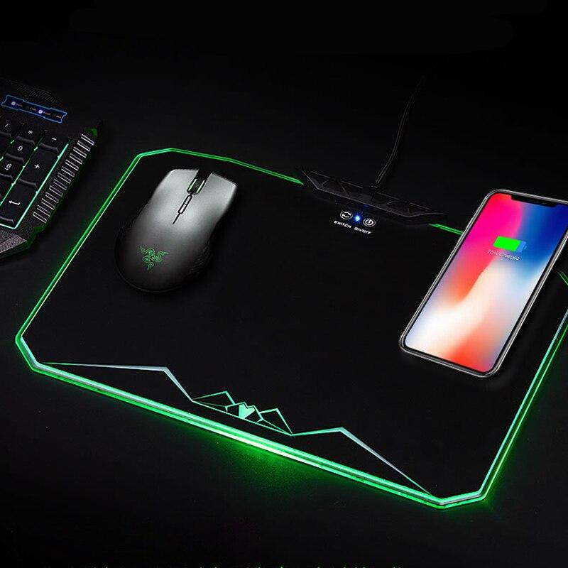 Chargeur de charge sans fil Qi pour téléphone portable Led RGB jeu rétroéclairé tapis de souris Xl grand tapis de souris de jeu pour iPhone X/8 Galaxy S8 S9