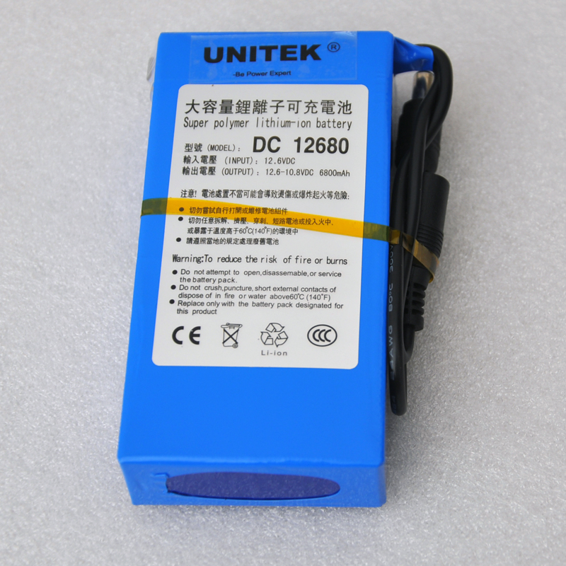 New lithium ion polymer DC 12v battery 6800mah rechargeable cell + 1pcs charger for CCTV camera system UPS Backup power supply