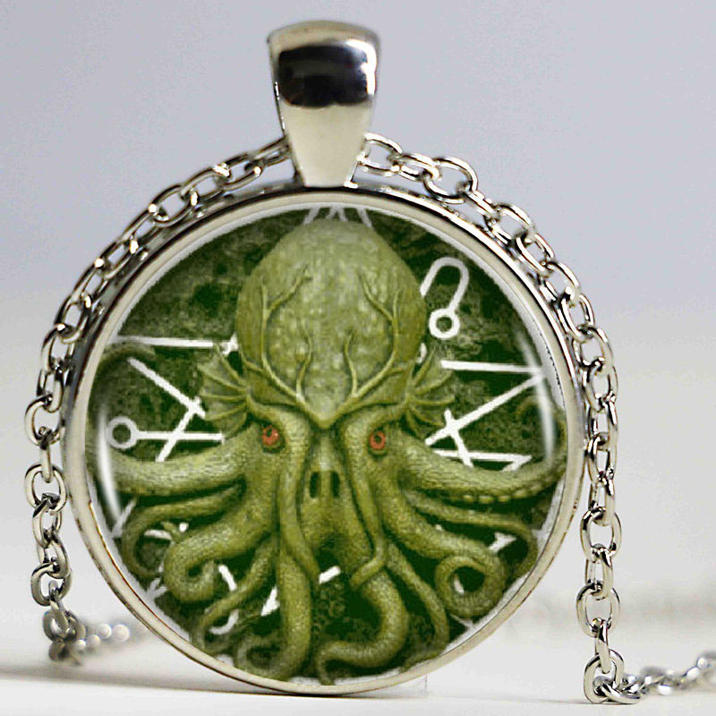 1pcs/lot Pentagram Kraken Cthulhu Pendant & Necklace Cabochon Vintage Long Sliver Chain Statement Necklace Fine Jewelry broad paracord