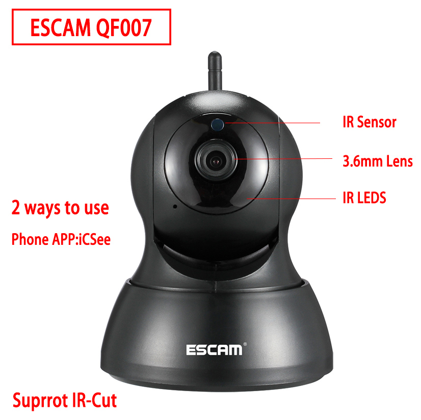 Escam QF007 Mini Home Camera 720P WiFi IR Alarm Pan Tilt IP Camera Black White