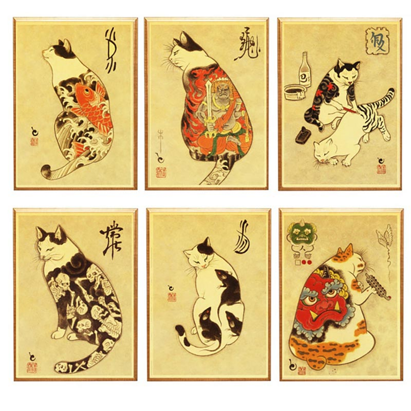 Home Decoration Canvas Painting Wall Art Pictures Prints Japanese Samurai Tattoo Cat Nordic Style Modular Poster For Living Room