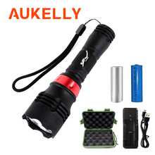 Aukelly Underwater Flashlight T6 LED Scuba Diving Torch Light Waterproof 18650 Rechargeable Diver Lanterna Powerful Dive Lamp new 2100lm cree t6 led waterproof underwater scuba dive diving flashlight torch light lamp for diving free shipping
