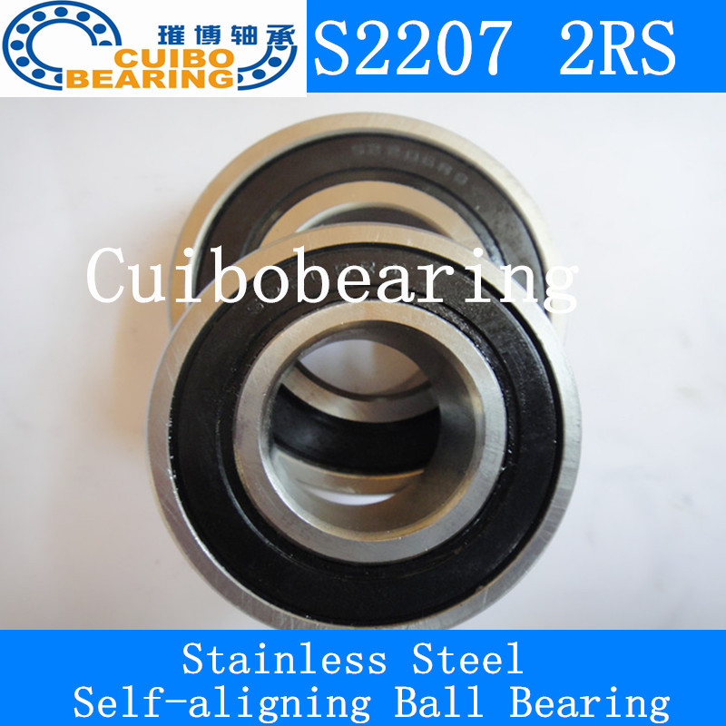ФОТО FREE SHIPPING 1PCS Stainless steel self-aligning ball bearings S2207 2RS Size 35*72*23