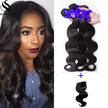 Middle Free Three Part Lace Closure 3 Bundles 8A Grade Indian 100% Human Hair Body Wave Slightly Bleached Knots Free Shipping