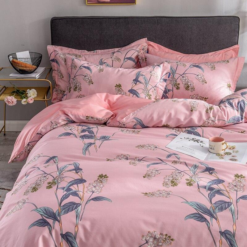 Maison Textile 13372 en peluche coton cerise Rose feuille belle image literie Kit housse de couette taies d'oreiller literie