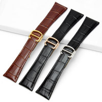 Black Brown New Mens Genuine Leather Watch Strap Band Stainless Steel Buckle 20mm 22mm 23mm 24mm 25mm for Cartier tank solo