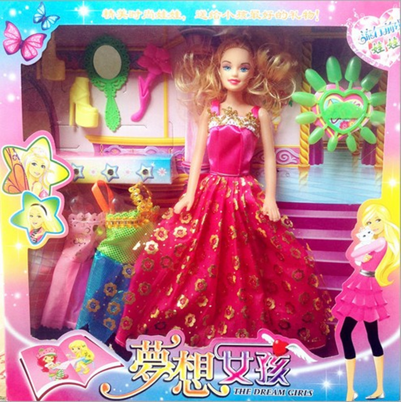 29cm New 4 Dress Princess Gown+shoes combination for barbie dolls ...