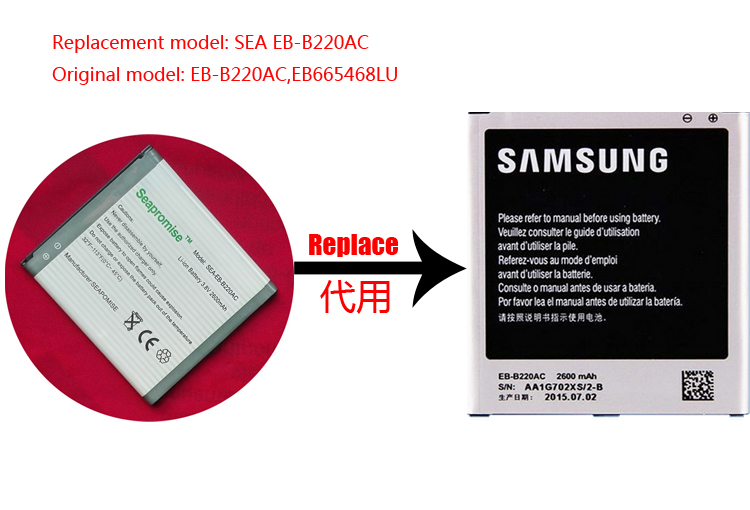 Freeshipping retail bateria EB-B220AC para SAMSUNG galaxy grand 2 G710 SM-G710, G7102, G7106, G7108V, G710L, G710S, SM-G7106, SM-G7102