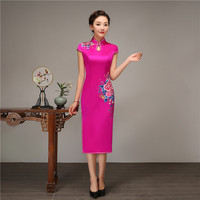 Nevolty Rose Red Embroidery Flower Cheongsam Vintage Mandarin Collar Slim Long Qipao Women Wedding Evening Party Dress S 3XL