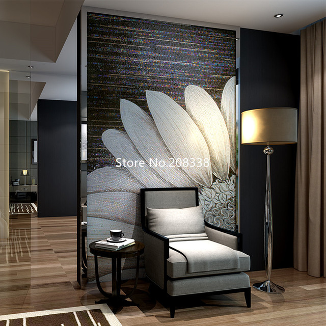 Wall murals glass mosaic mural White sunflower Unique for home walls