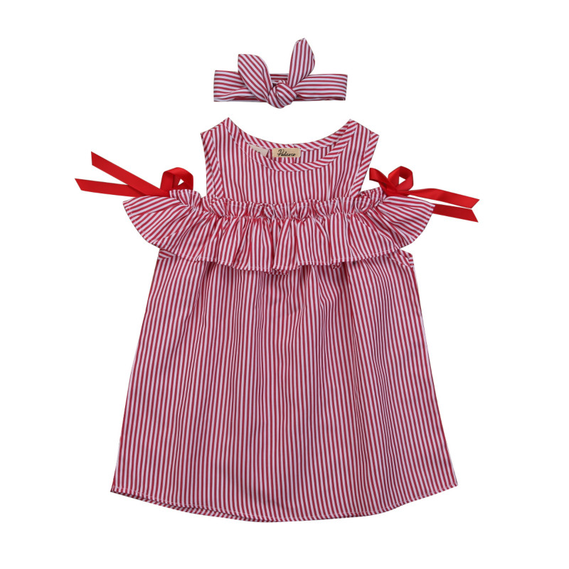 Princess Toddler Kids Baby Girls Off Shoulder Cotton Bowknot Striped Ruffles Tutu Dress 2Pcs Summer Clothes Set Sunsuit Dresses 2017 summer toddler kids girls striped baby romper off shoulder flare sleeve cotton clothes jumpsuit outfits sunsuit 0 4t