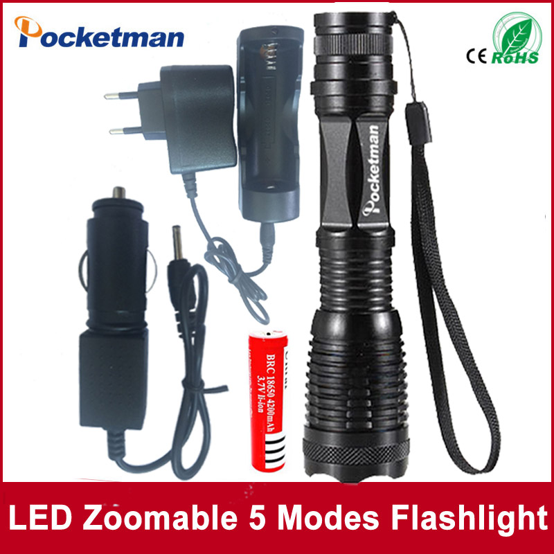 E17 CREE XM-L t6 4000 lumens led flashlight torch adjustable lights & lighting torch for AAA and 18650 battery Rechargeable e17 cree xm l t6 2400lumens led flashlight torch adjustable led flashlight torch light flashlight torch rechargeable