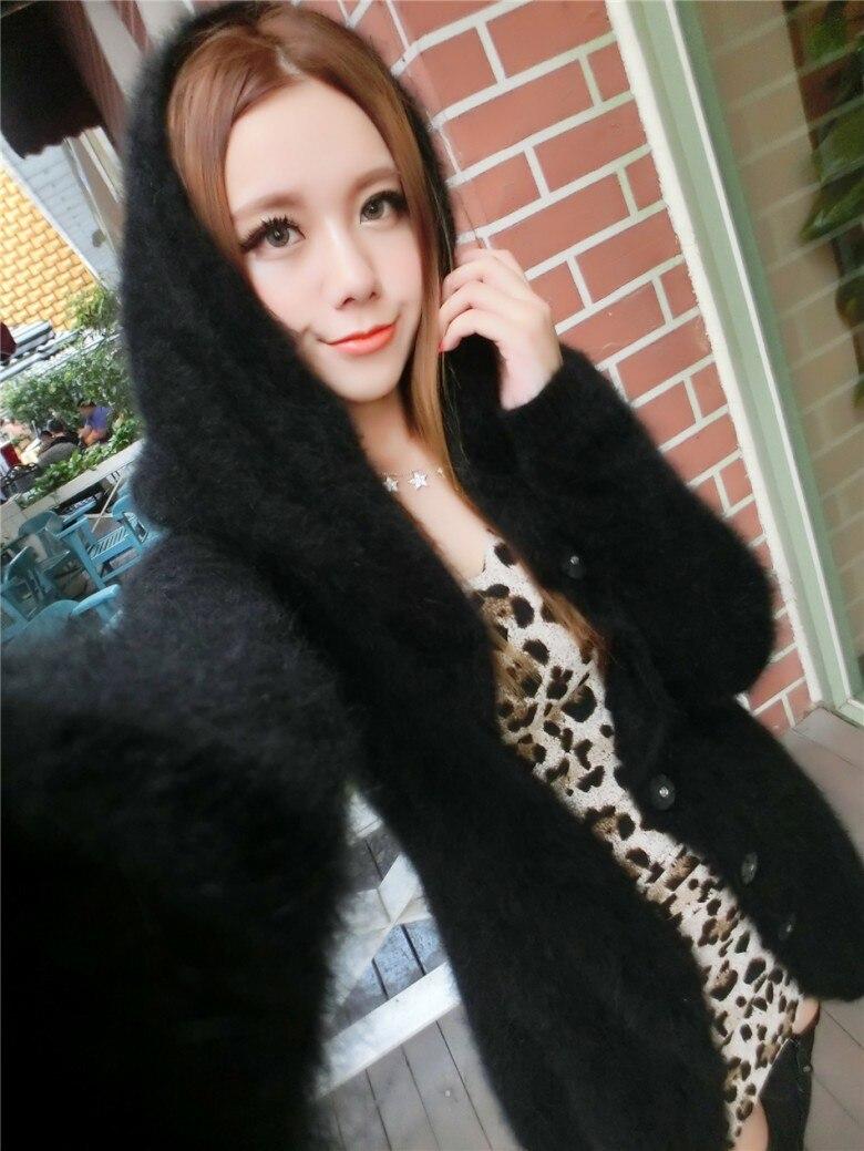 Новинка, длинное пальто из натурального меха норки DFP385, куртка из натурального меха - Цвет: Black