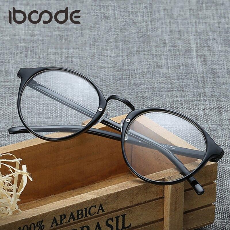iboode Vintage Glasses Frame Classic Plain Lens Round Retro Glasses Fresh Style Unisex Student Eyewear Eyeglasses for Men Women