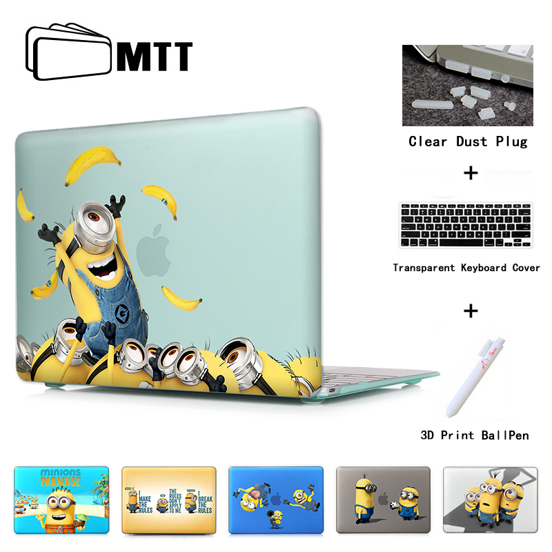 Drukāt klēpjdatoru korpusa vāciņu Macbook Air 11 12 13 Minions Grab banānu kristāla korpuss Apple Mac Book Pro 13.3 15.4 Touch bar