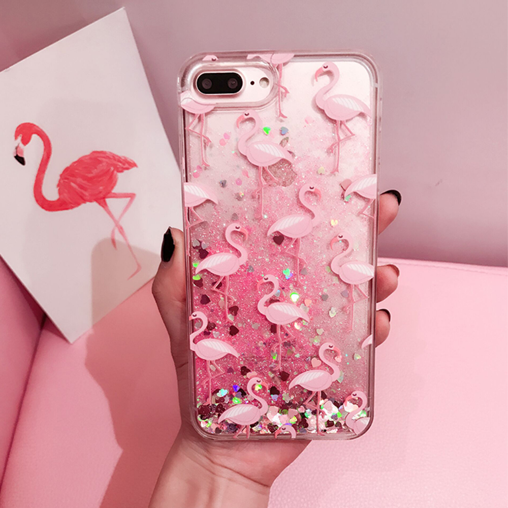 Glitter Dynamic liquid Flamingo Phone Cases For iPhone 6 6s 7 8 Plus Case Silicone Cover Case For iPhone X Girly Coque Capa